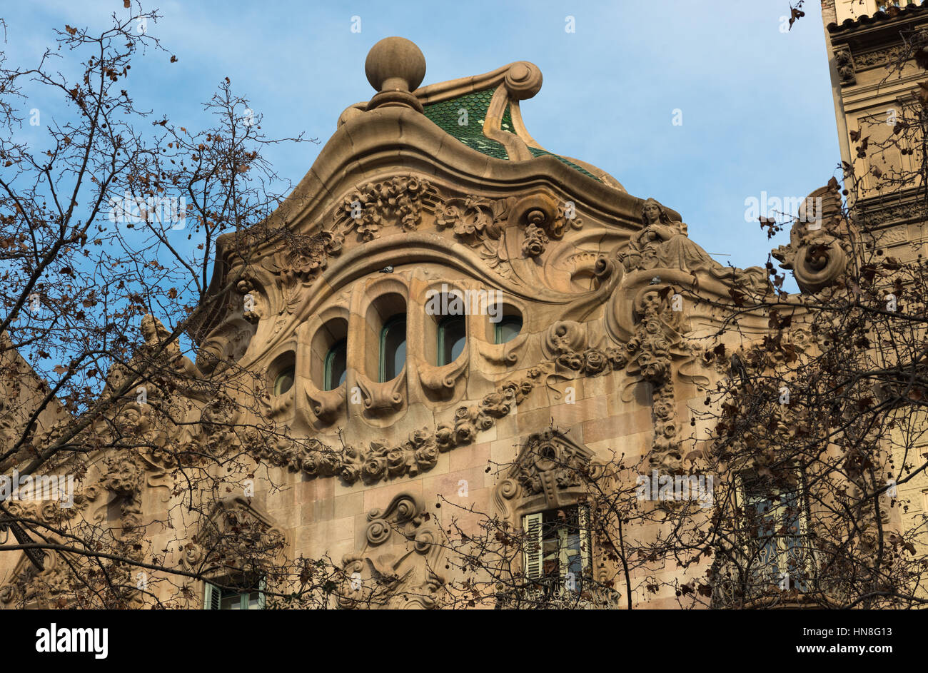 Modernist architecture on Diagonal Avenue, Barcelona, Spain Stock Photo