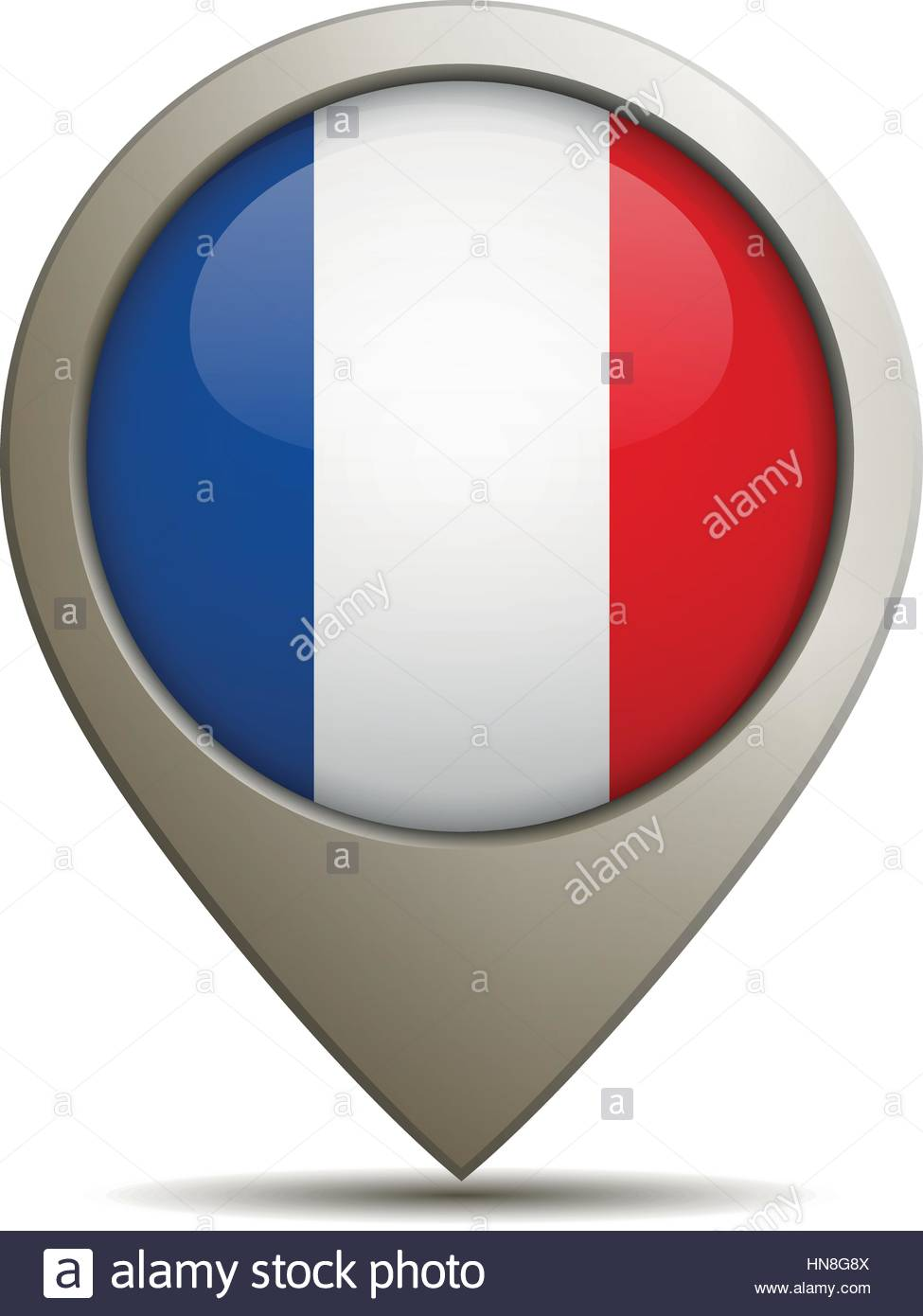 Vector Illustration Of A Straight Location Pin With French Flag. - Stock Image