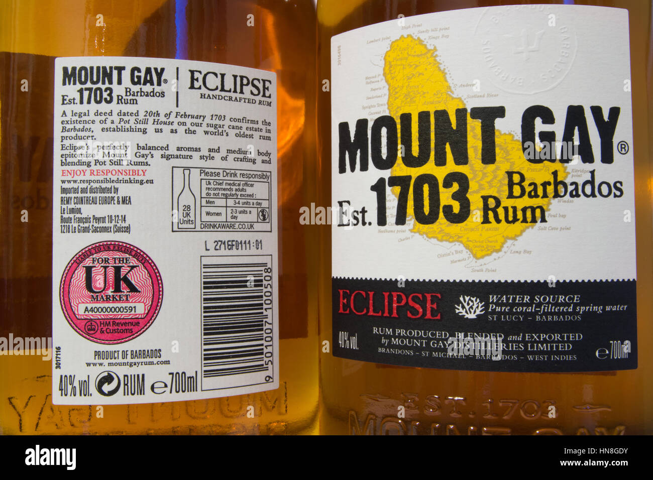 MOUNT GAY RUM: A bottle of Eclipse rum . imported for the UK market, containing 28 UK Units of alcohol. - Stock Image