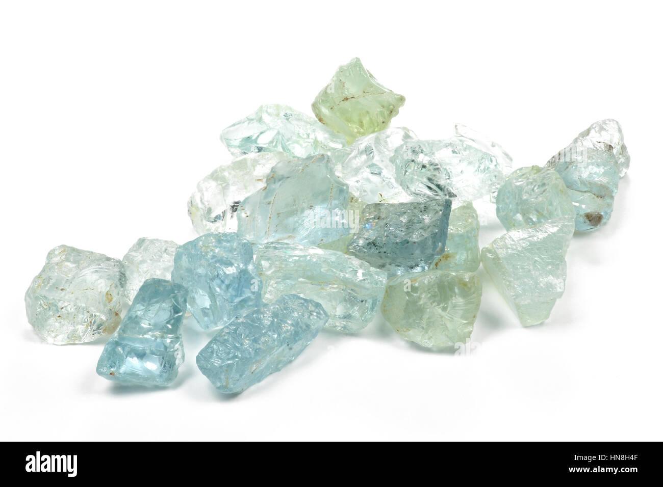 aquamarine crystals isolated on white background - Stock Image