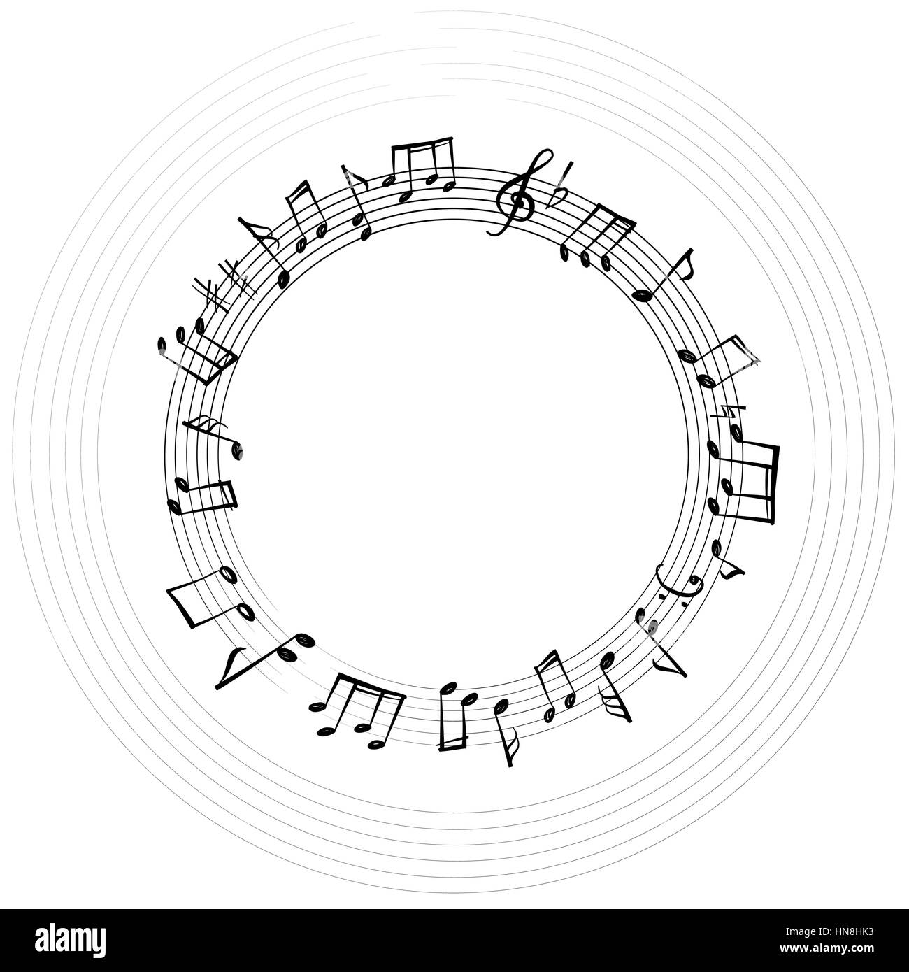 Music notes border. Musical background. Music style round shape ...