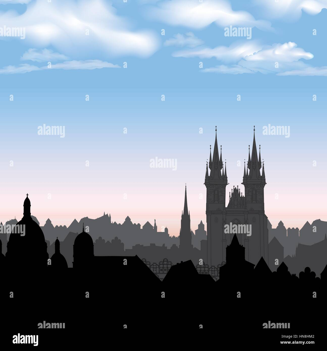 Old Town of Prague, Czech Republic. Cityscape in the old european city with tower on the background. Historic city Stock Vector