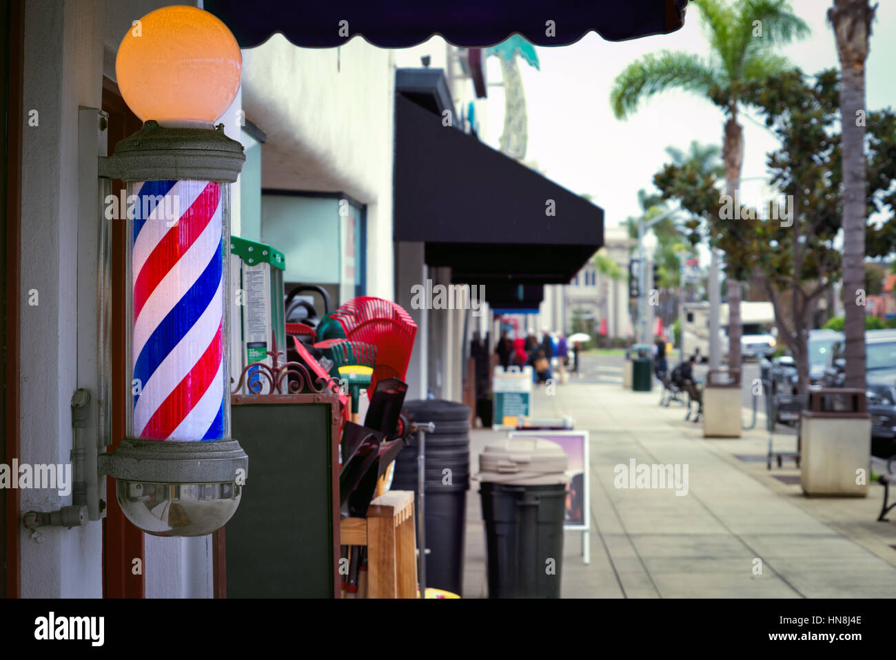 A southern California barber shop. - Stock Image