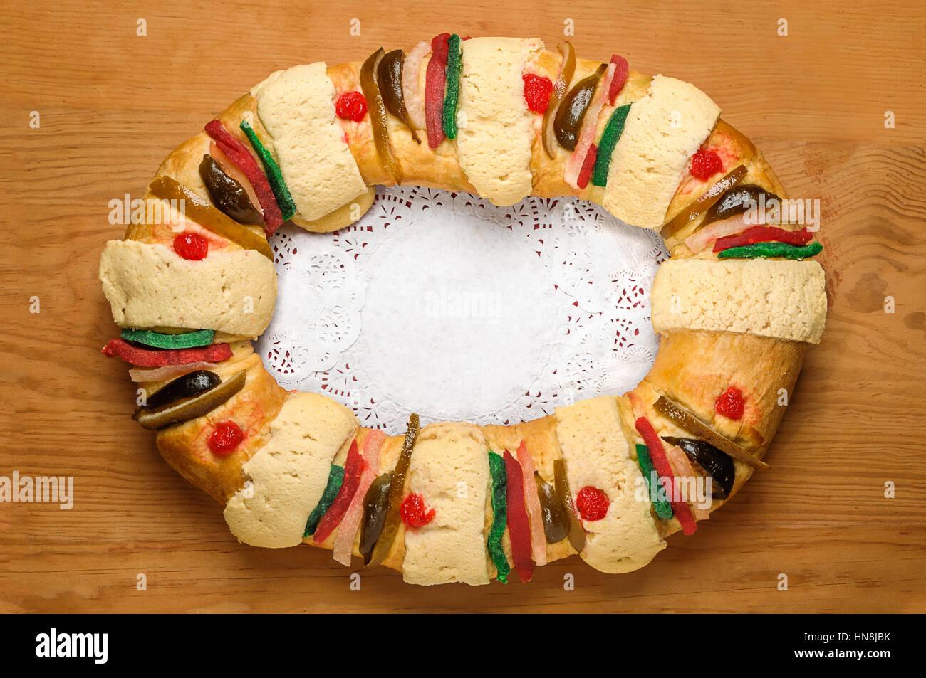 Epiphany cake, Kings cake, Roscon de reyes or Rosca de reyes - Stock Image