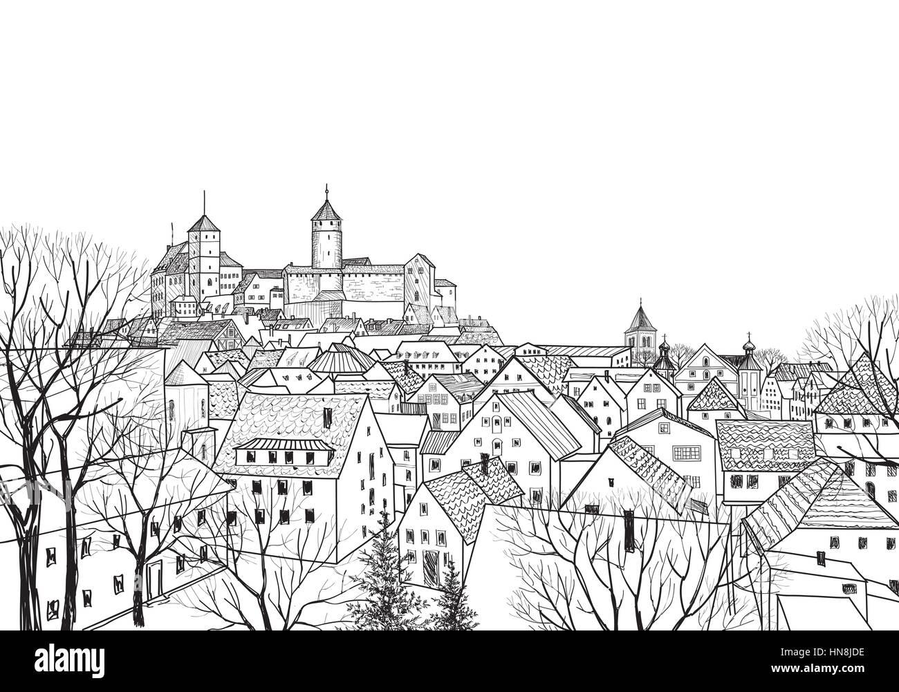 Old city view. Medieval european castle landscape. Pensil drawn vector sketch - Stock Vector