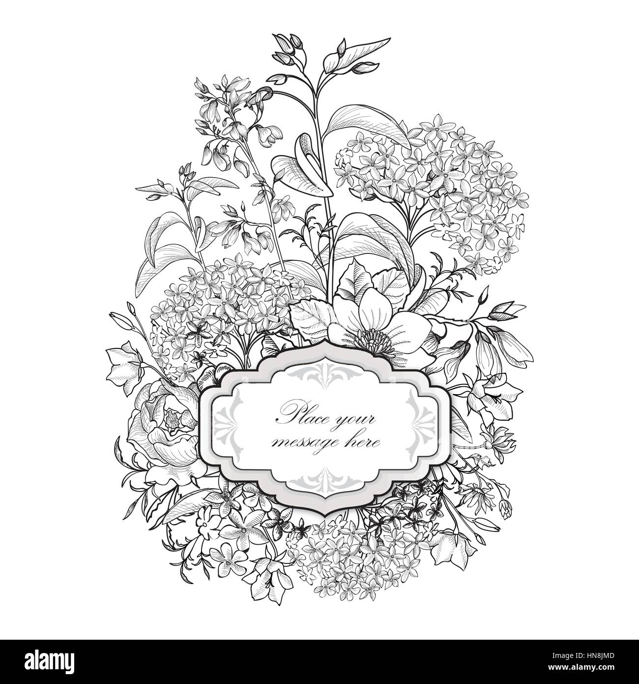 Vintage Floral Border Old Style Card Flourish Victorian Invitation