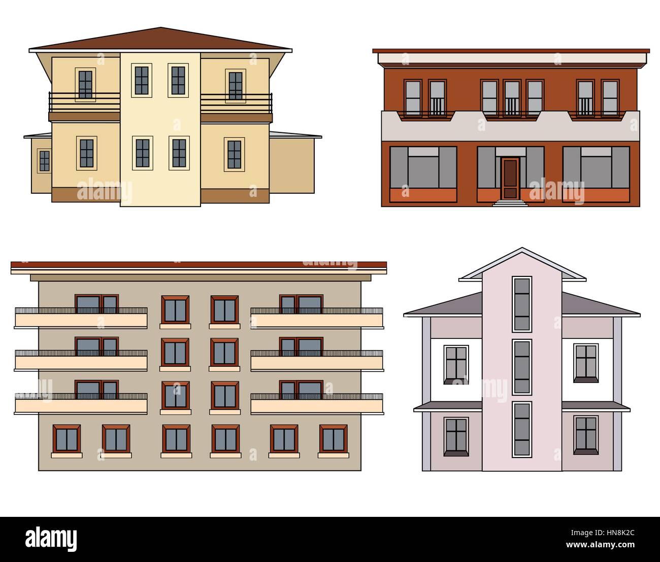 House set. Building facade isolated collection Stock Vector