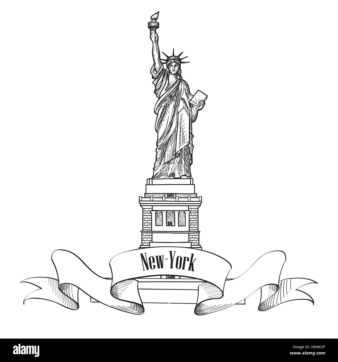 Liberty Statue, New York, USA. Hand draw sketch of american symbol isolated Stock Vector