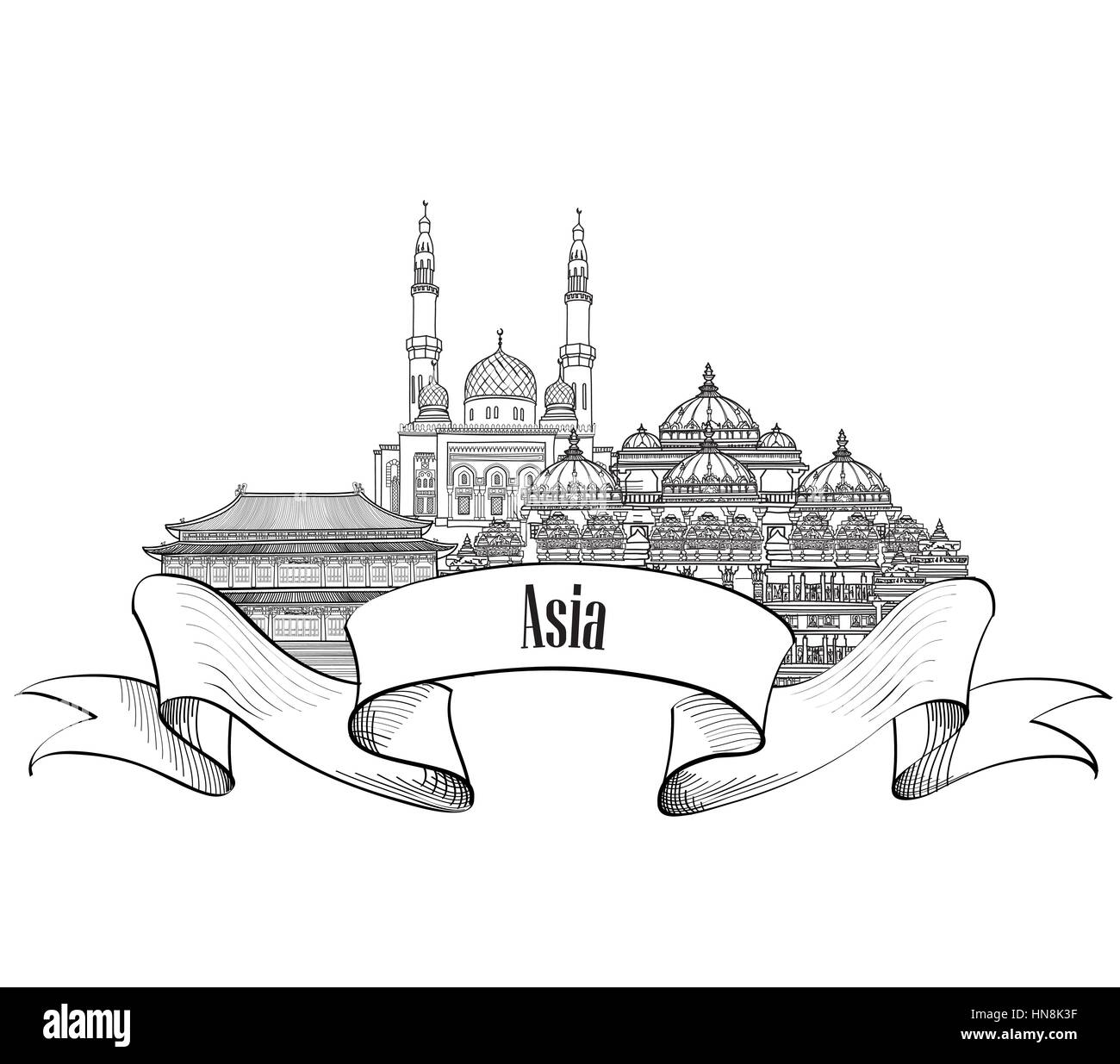 Travel Asia label. Famous buildings and landmarks. Asian capital city emblem. - Stock Image