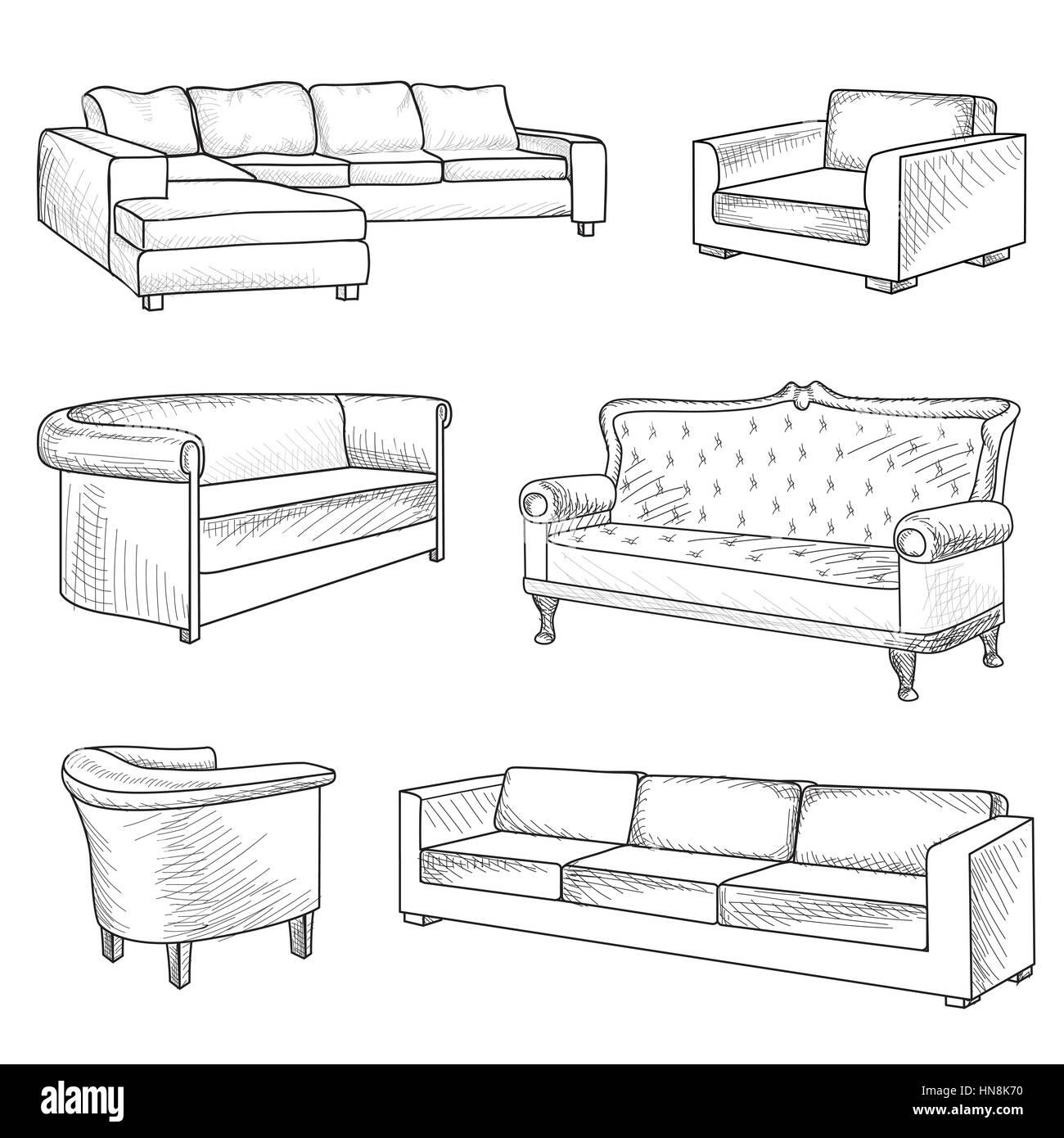Furniture Set Interior Detail Outline Sketch Collection Bed Sofa