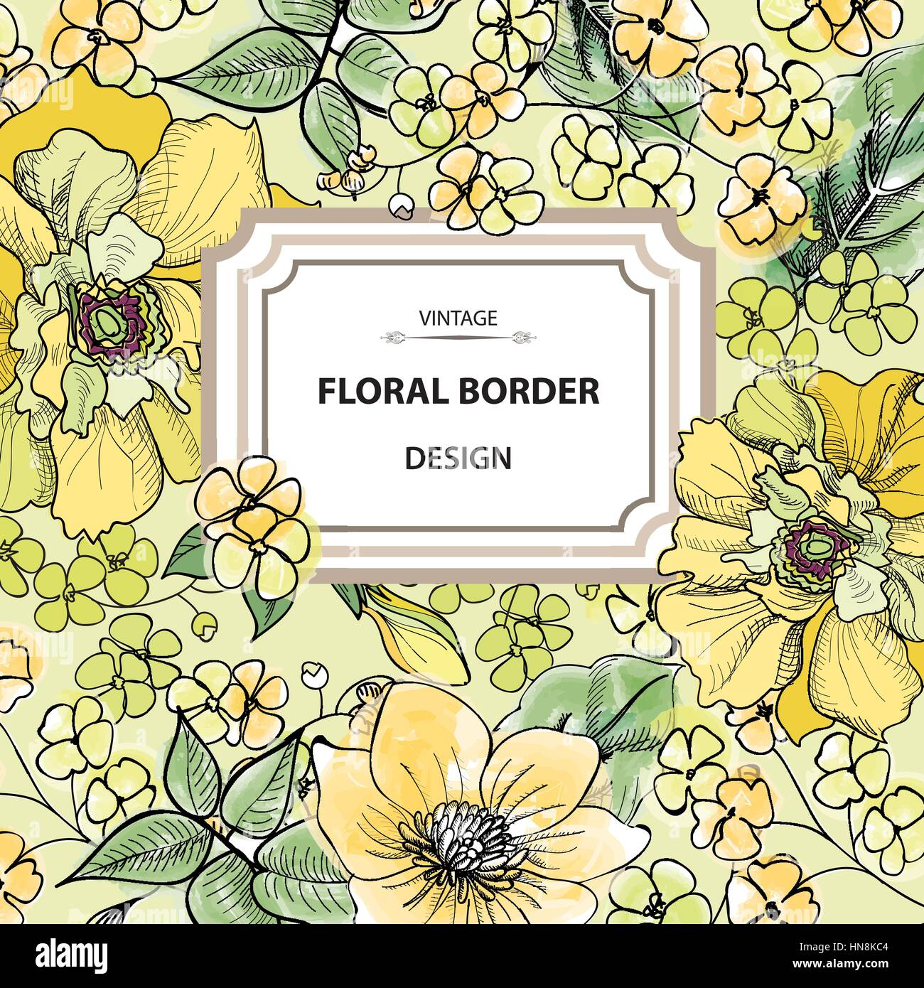 Floral Border Flower Background Vintage Flourish Spring Card Or
