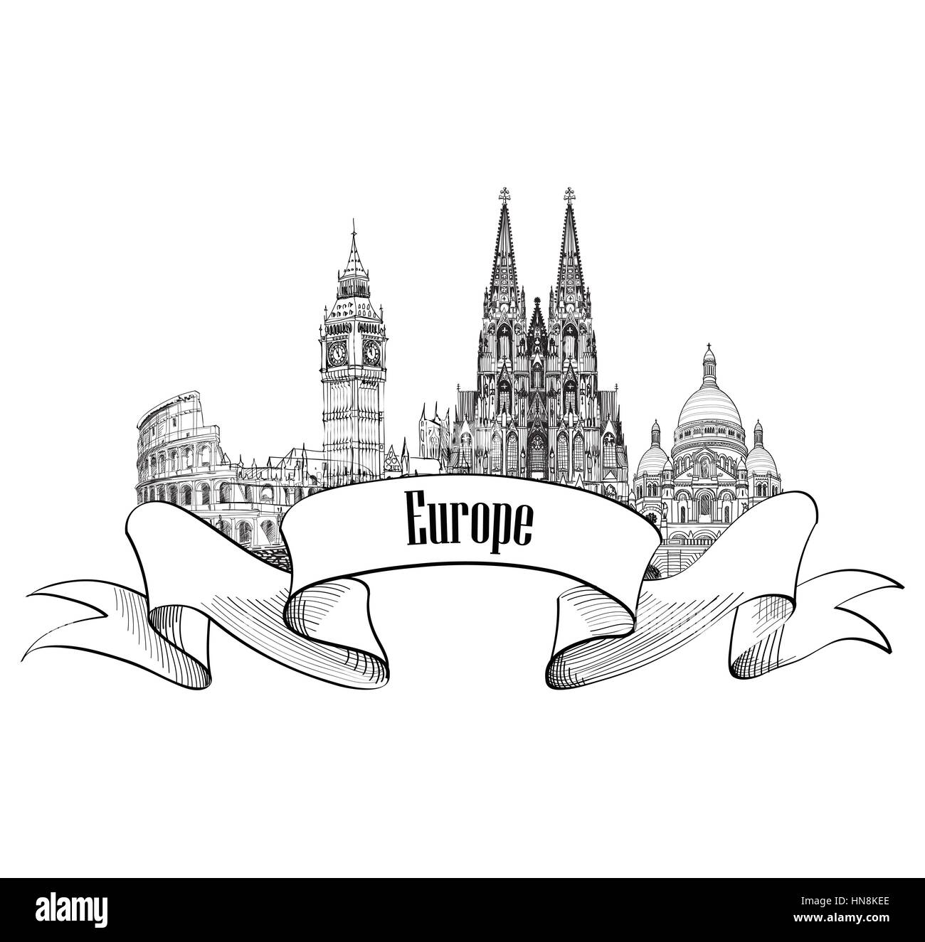 Travel Europe label. Famous buildings and landmarks. European capital city emblem. - Stock Vector