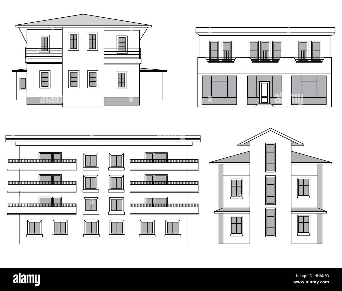 Houses. Building facade set. Stock Vector
