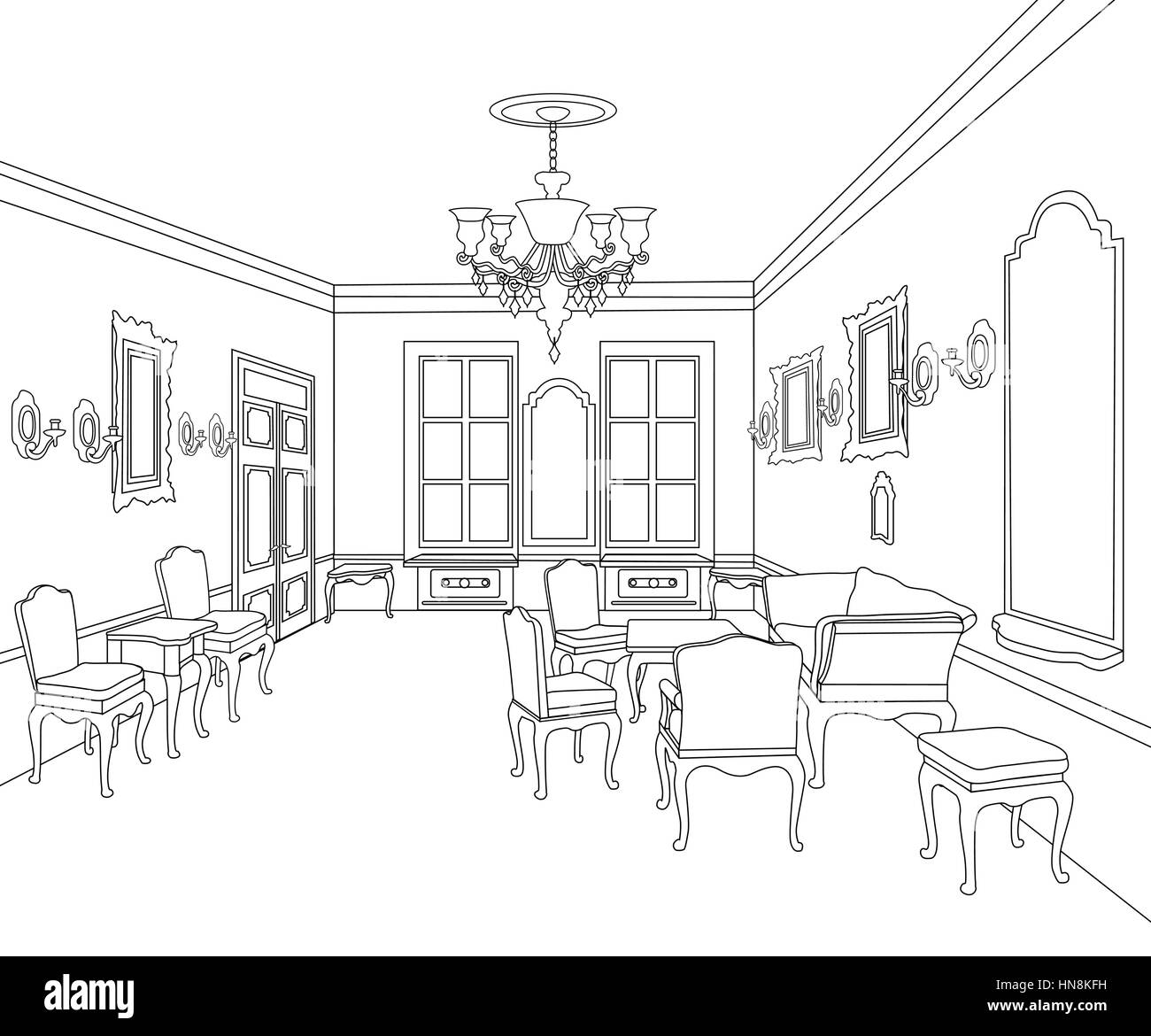 Tea estate black and white stock photos images alamy interior outline sketch furniture blueprint architectural design living room stock image malvernweather Gallery