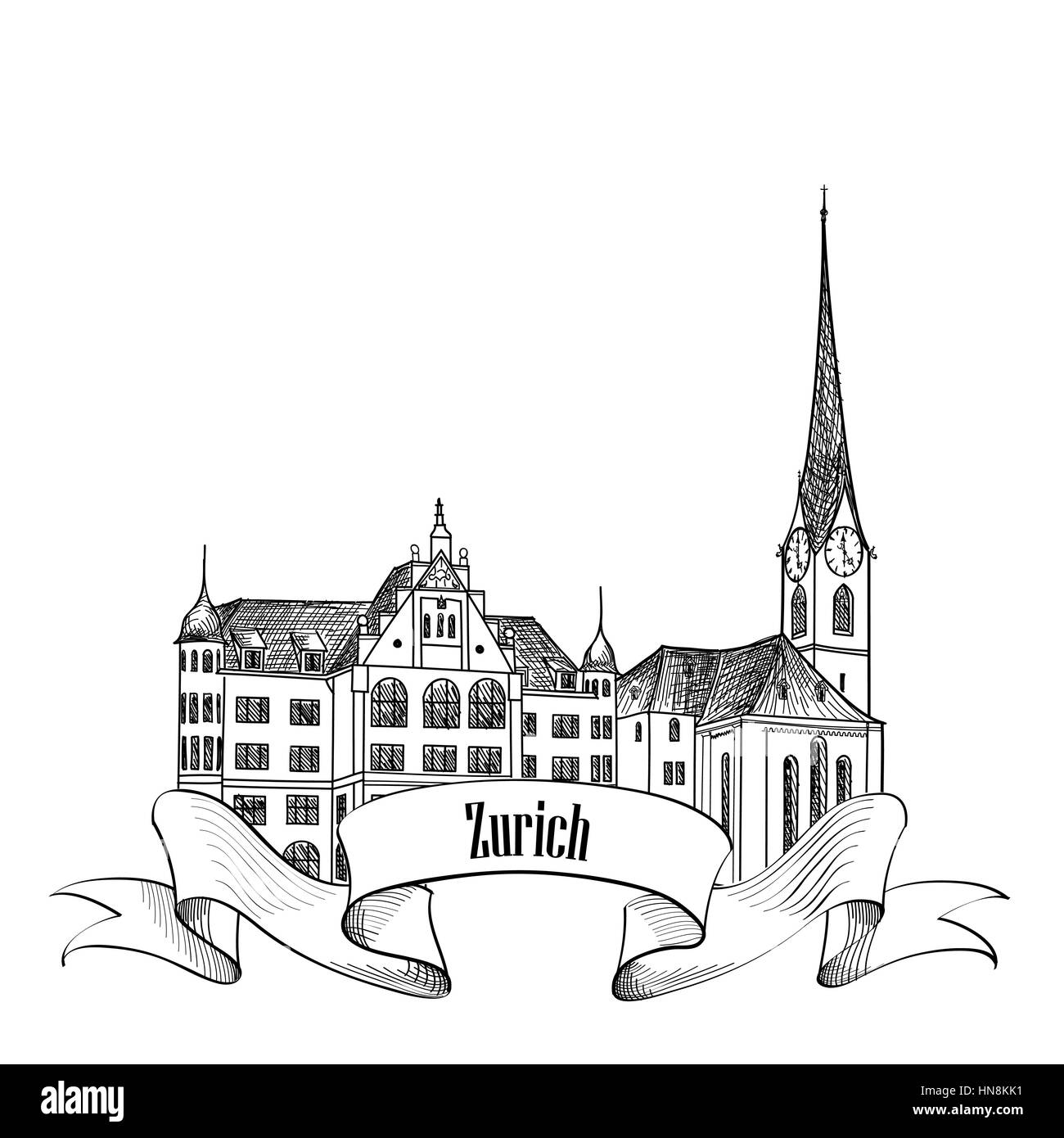 Zurich. City landmark label. Symbol of the capital of Switzerland. - Stock Vector