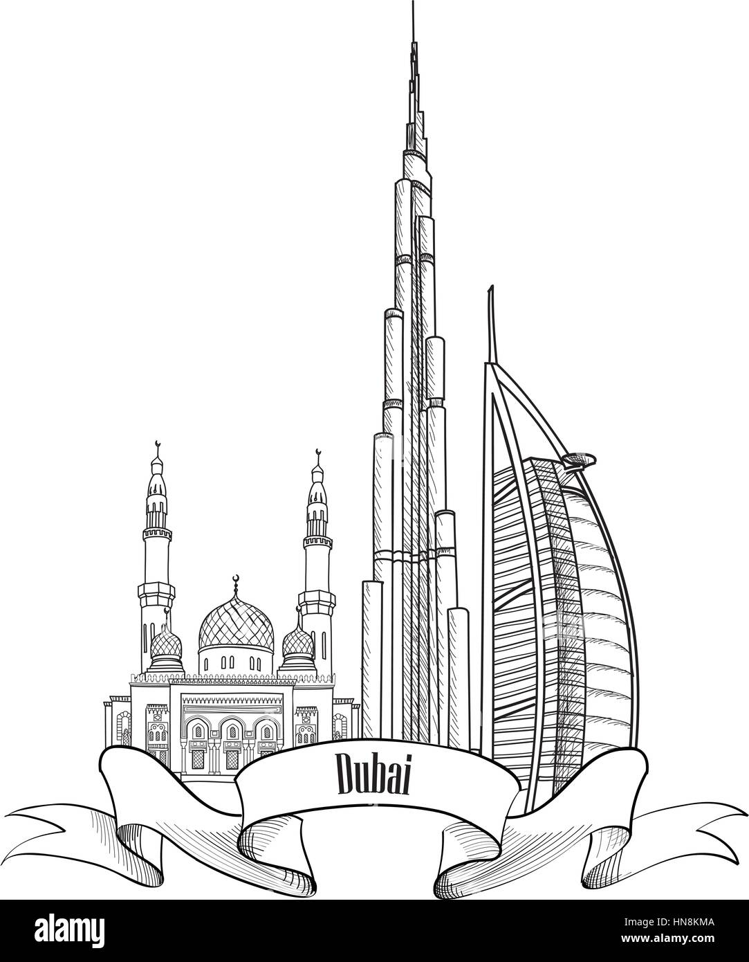 Travel UAE Symbol Dubai City Label