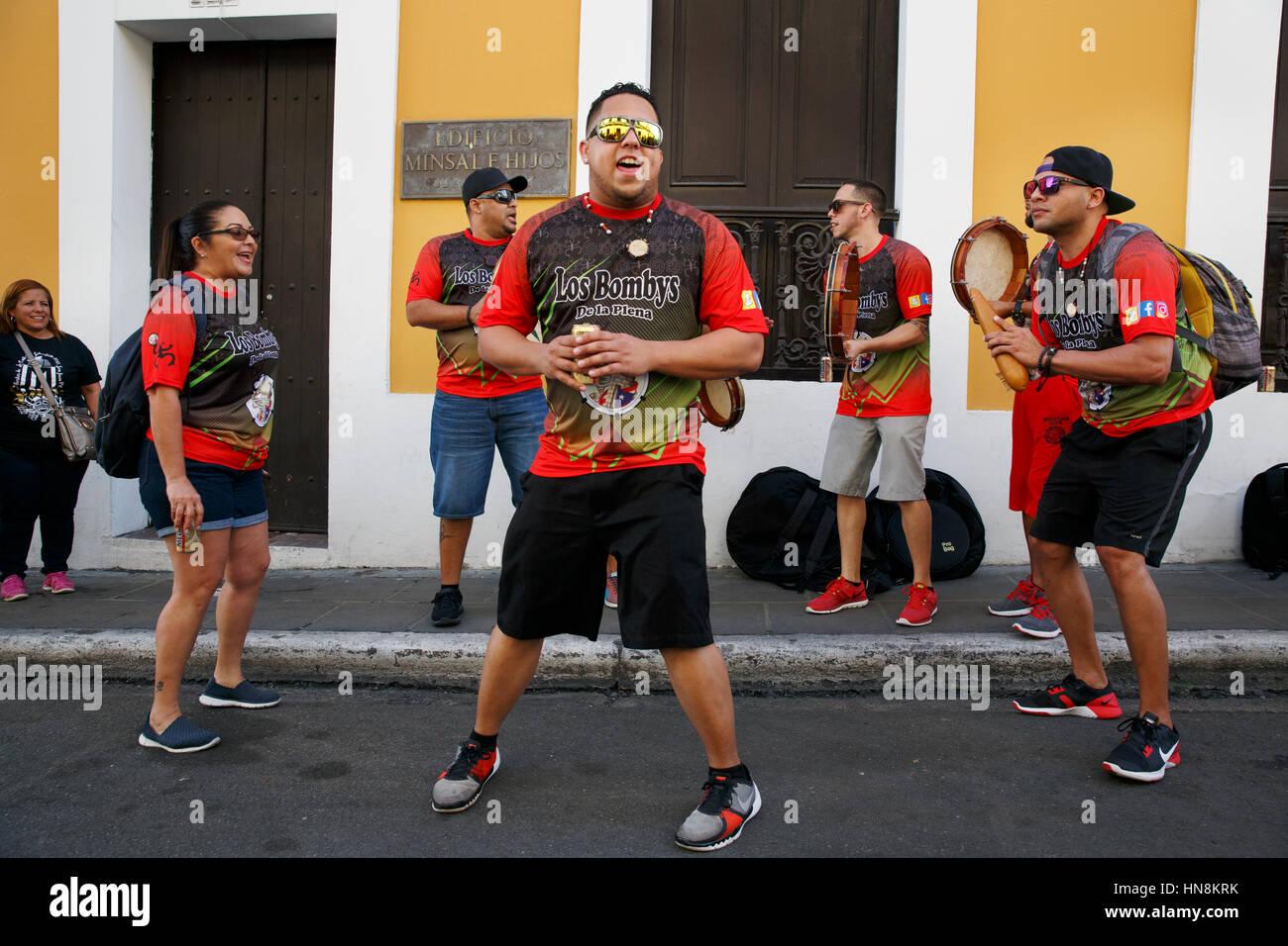 Musical group street performance, San Sebastian Festival, San Juan, Puerto Rico - Stock Image