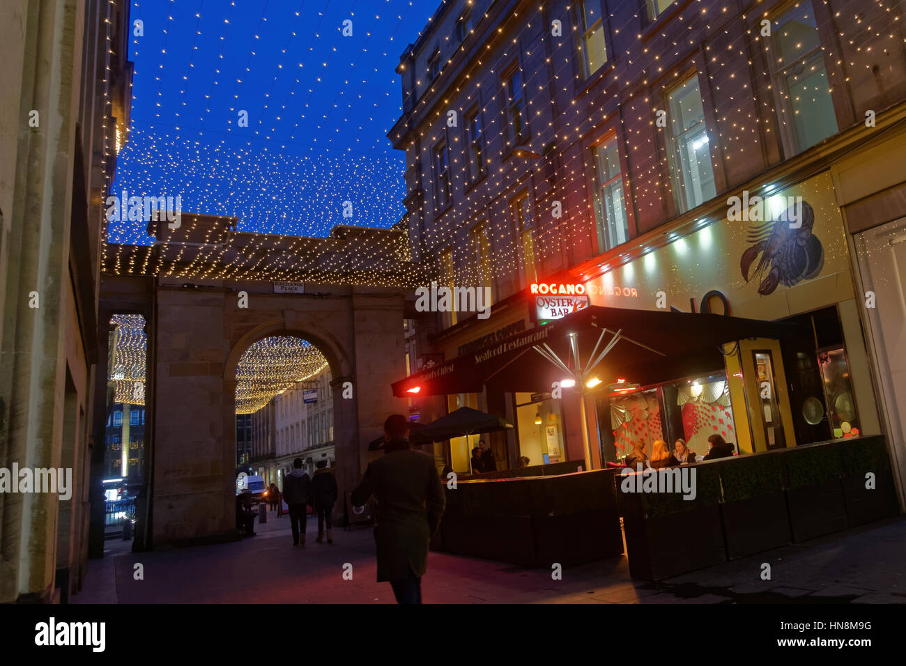 Rogano seafood restaurant to the stars in Glasgow Scotland famous for its cuisine - Stock Image