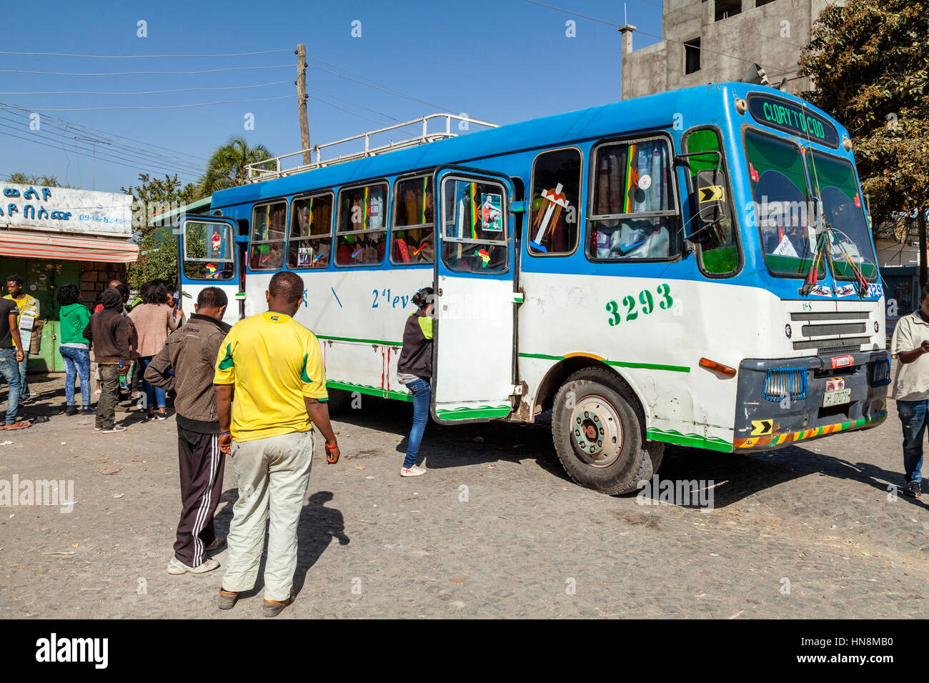 A Bus Getting Ready To Depart From The Bus Station, Ziway, Ethiopia - Stock Image