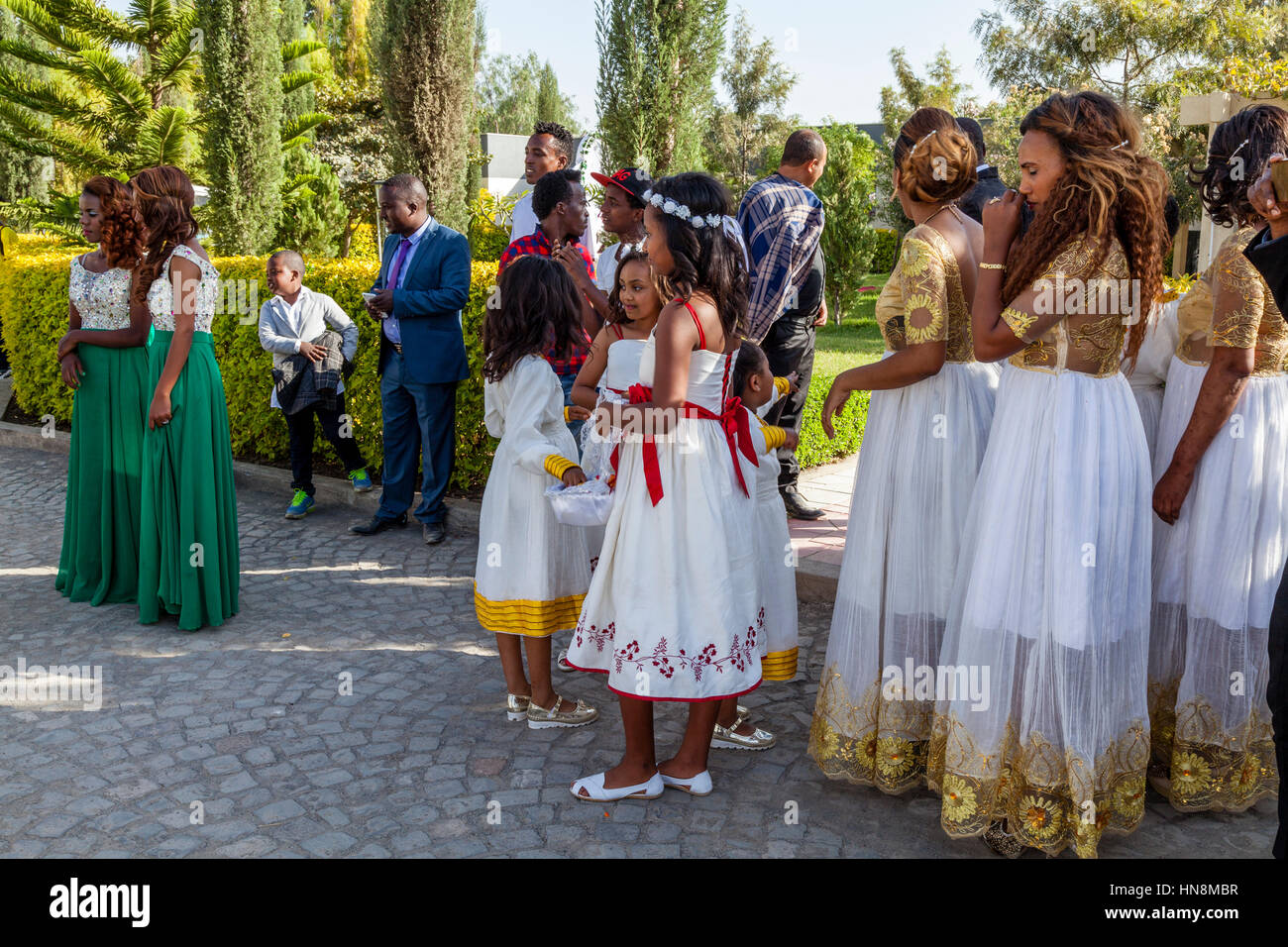 The Wedding Party, Bridesmaids Wait For The Arrival Of The Bride, Lake Ziway, Ziway, Ethiopia Stock Photo