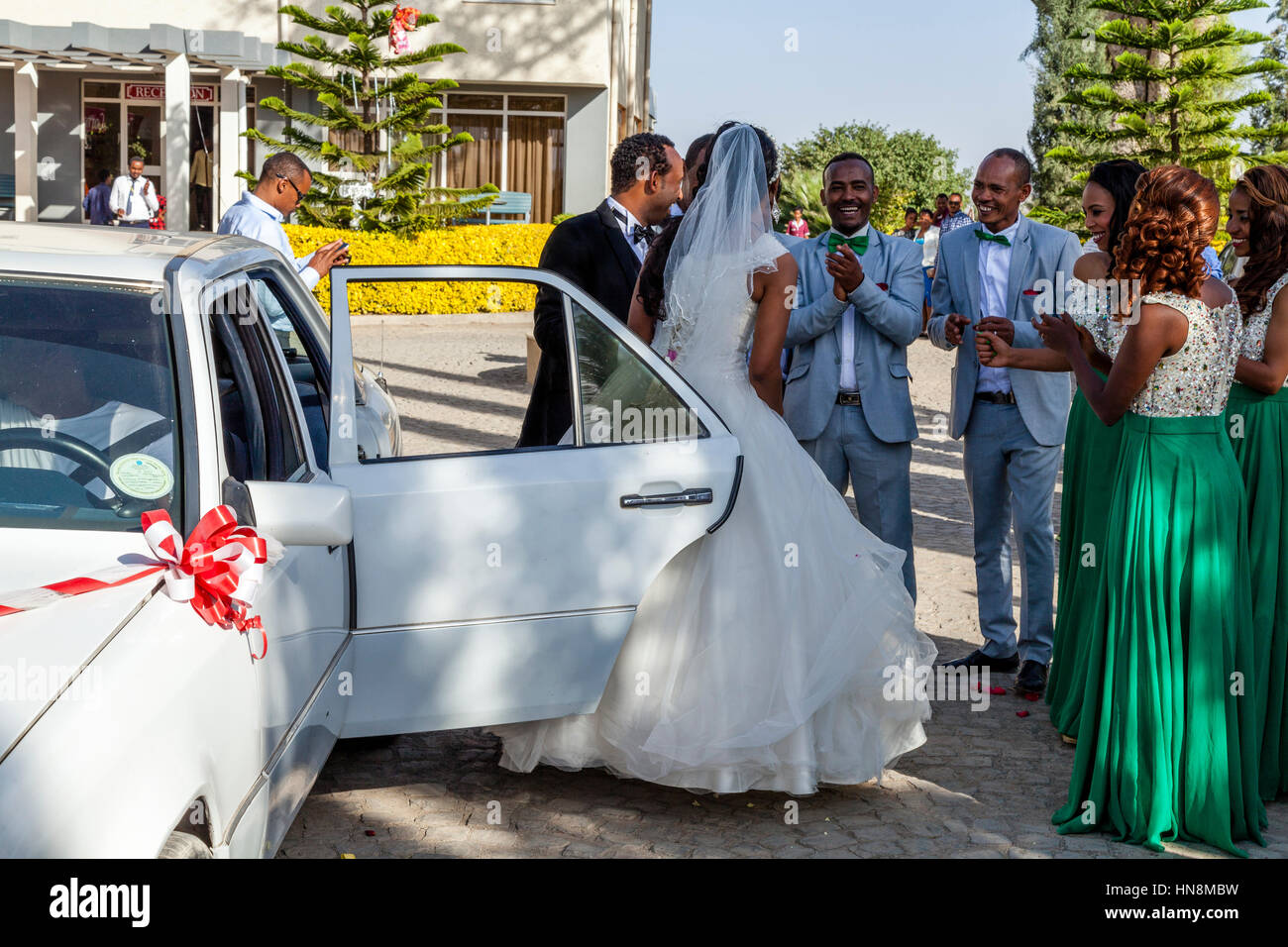 A Wedding Party, The Bride and Bridegroom Arrive, Lake Ziway, Ziway, Ethiopia Stock Photo