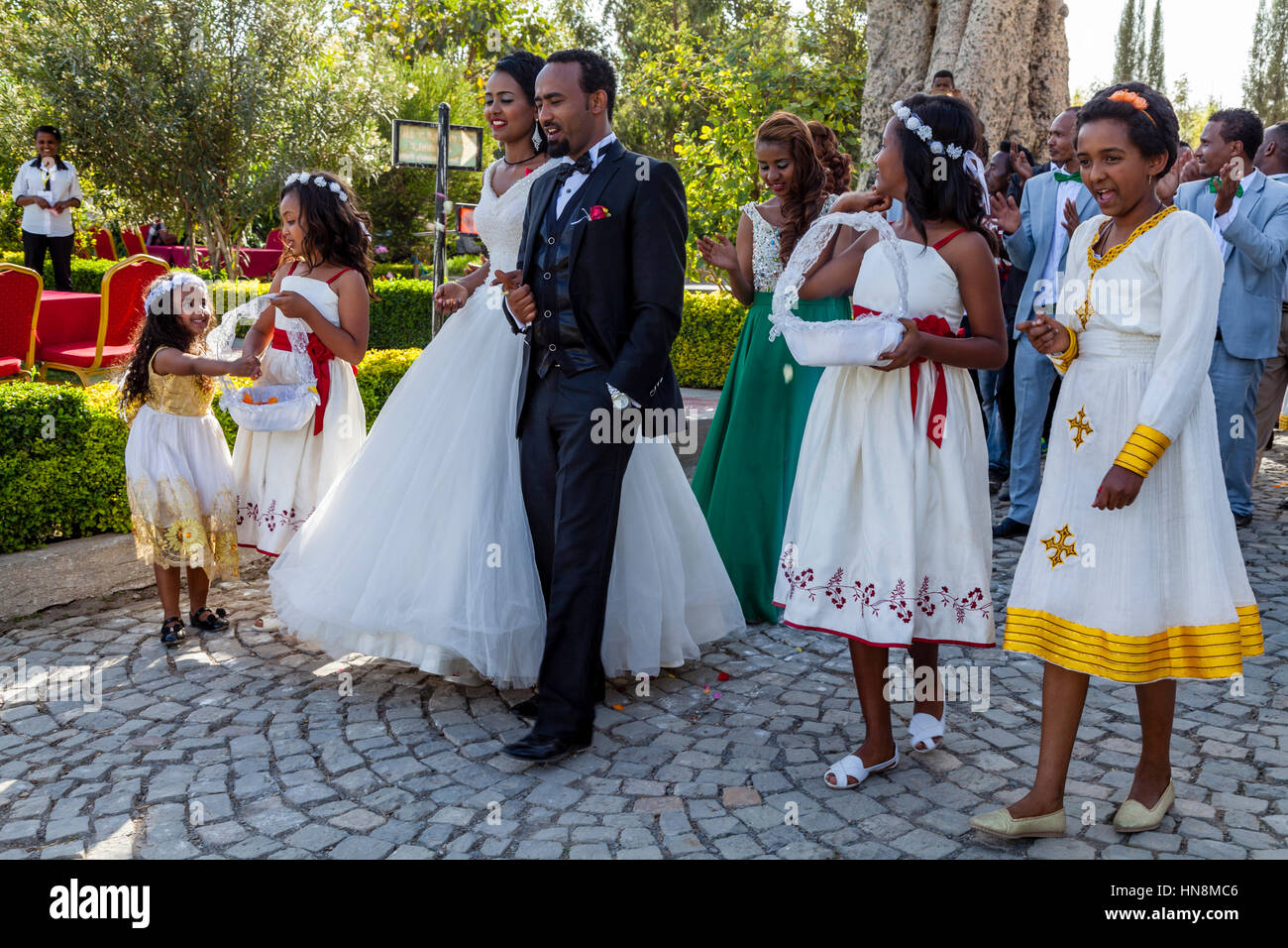 A Wedding Party, The Bride and Bridegroom Lead A Procession, Lake Ziway, Ziway, Ethiopia Stock Photo