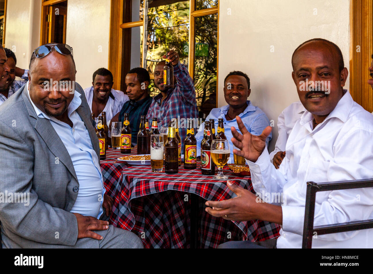 A Wedding Party, Guests At A Wedding Drinking Beer, Lake Ziway, Ziway, Ethiopia Stock Photo