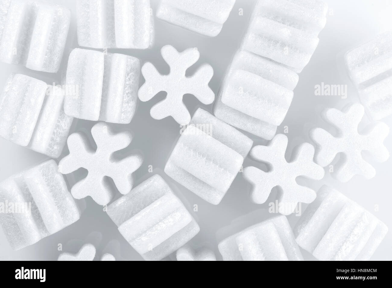 fill packing foam pellets on white background Stock Photo