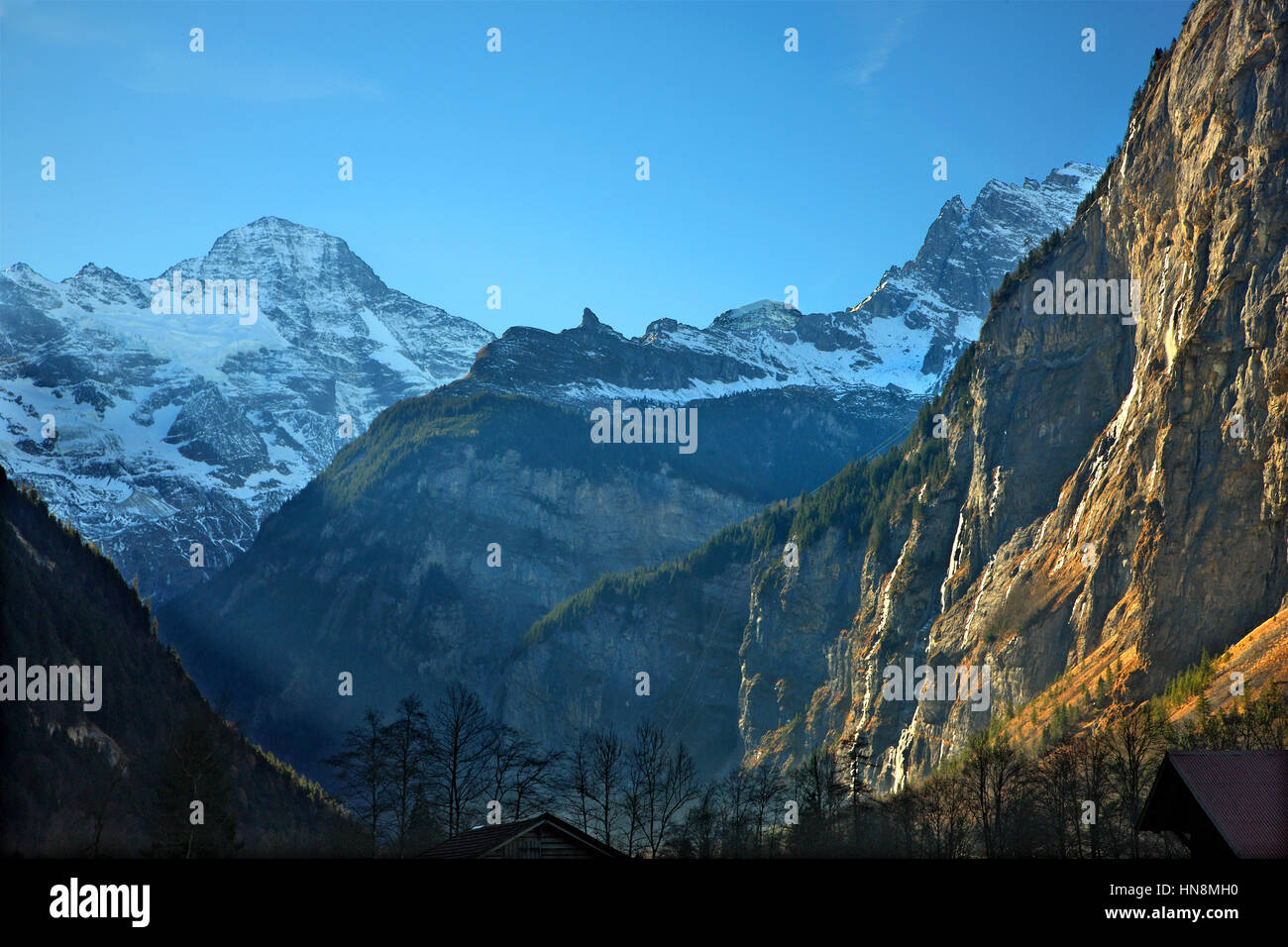Lauterbrunnen valley and in the background the Swiss Alps. Bernese Oberland, Switzerland - Stock Image