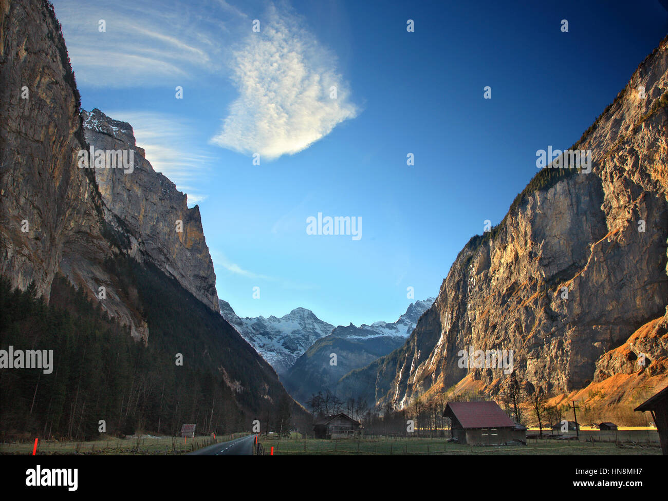Lauterbrunnen valley and in the background the Swiss Alps. Bernese Oberland, Switzerland Stock Photo