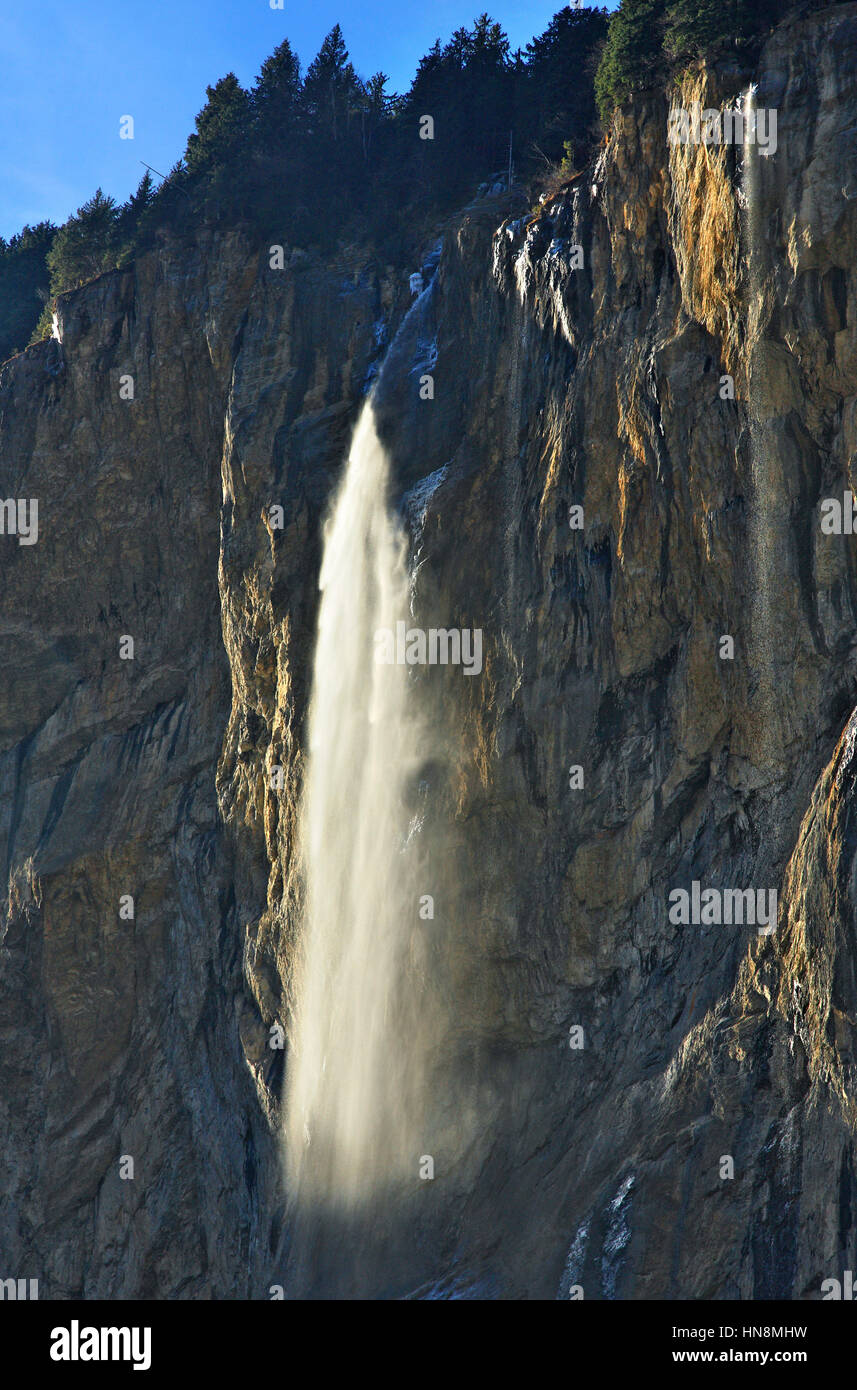 The Staubbach falls (about 300 meters high), Lauterbrunnen valley, Bernese Oberland, Switzerland. - Stock Image