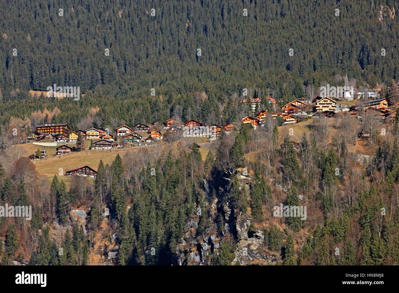 Wengen, a Swiss Alpine village in the Bernese Oberland region. It overlooks the Lauterbrunnen valley, Switzerland. - Stock Image