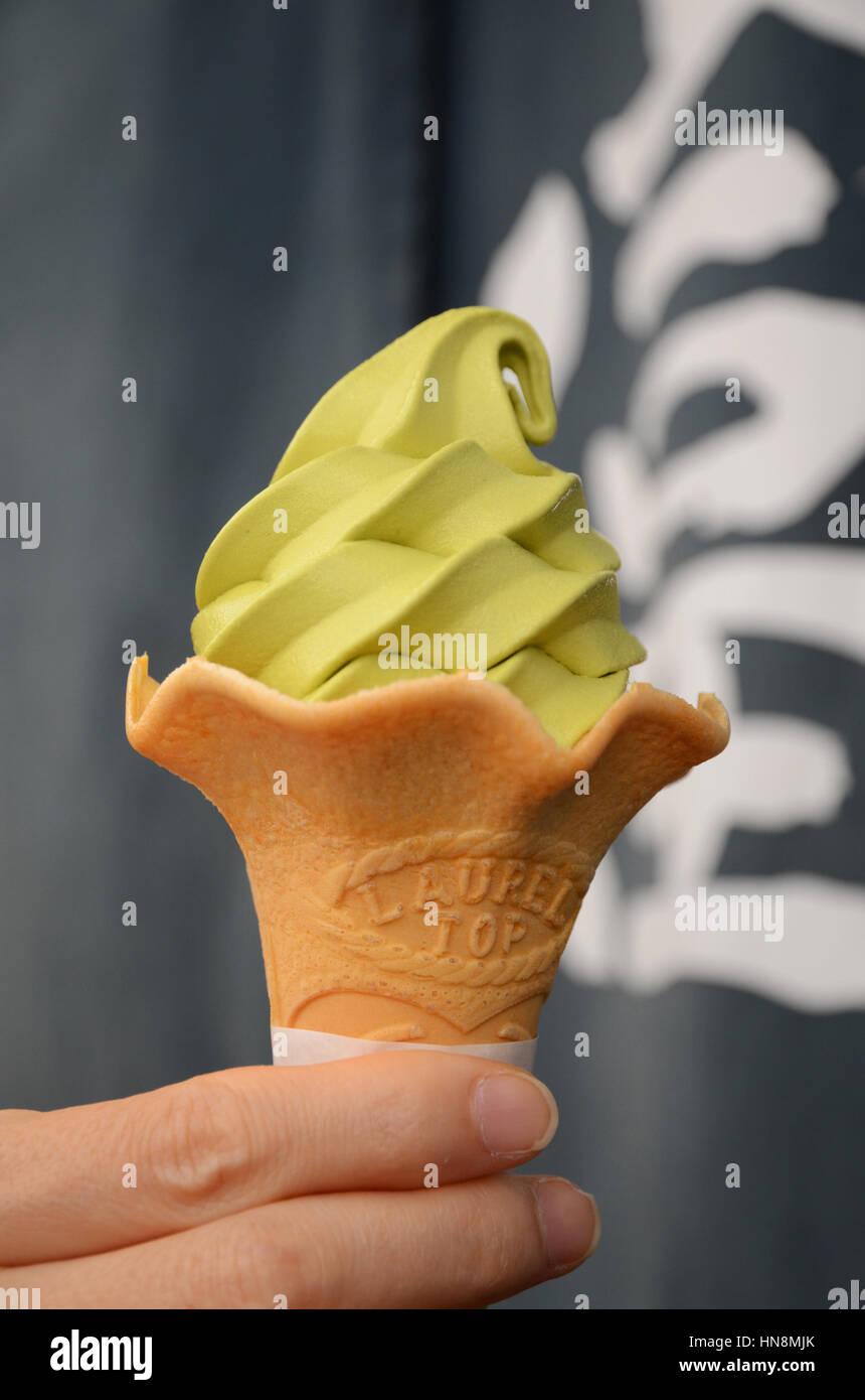 A green tea ice cream - Stock Image