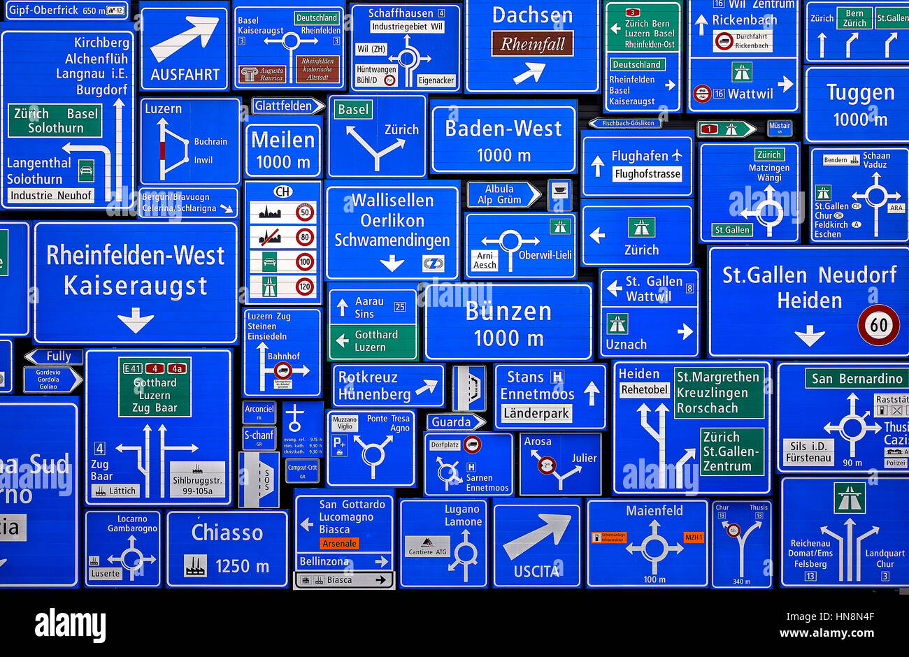 Road signs in the Swiss Museum of Transport (Verkehrshaus der Schweiz) in Lucerne, Switzerland. - Stock Image