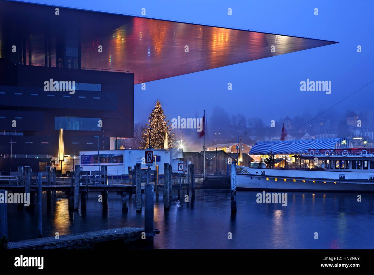 The KKL (Kultur- und Kongresszentrum Luzern - architect: Jean Nouvel), Lucerne, Switzerland. - Stock Image