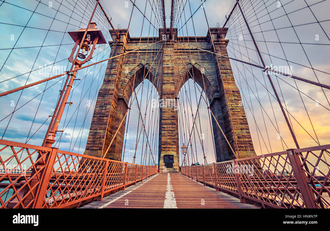 Brooklyn Bridge in New York City, America - Stock Image