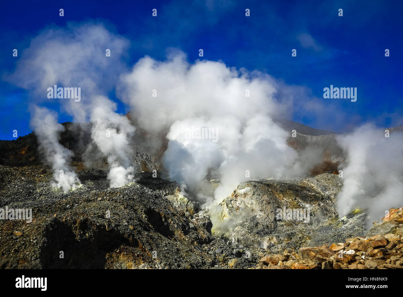 Fumaroles at the crater of Mount Papandayan volcano, Indonesia. © Reynold Sumayku - Stock Image