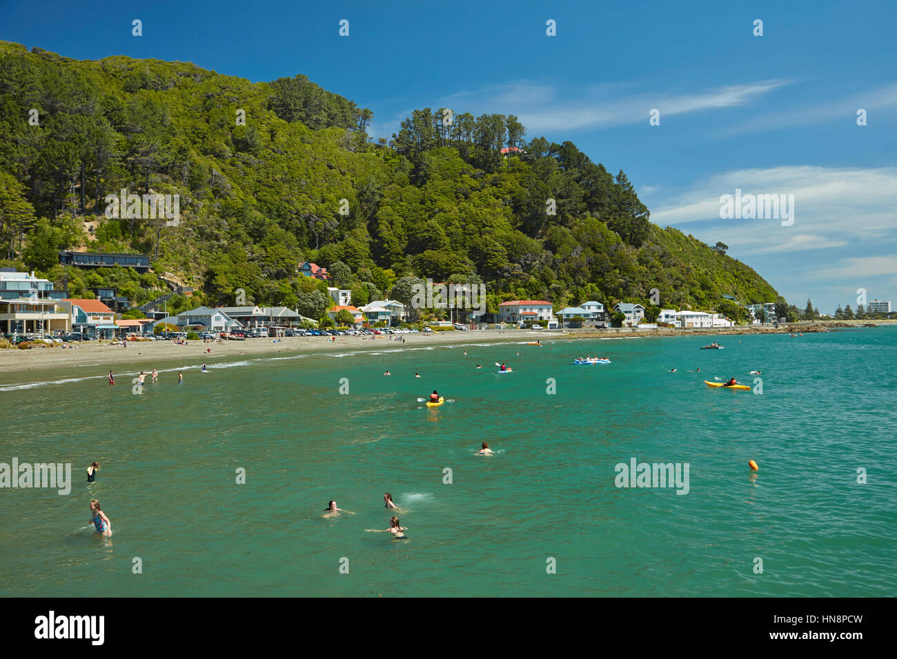 Swimmers at Days Bay, Eastbourne, Wellington, North Island, New Zealand - Stock Image