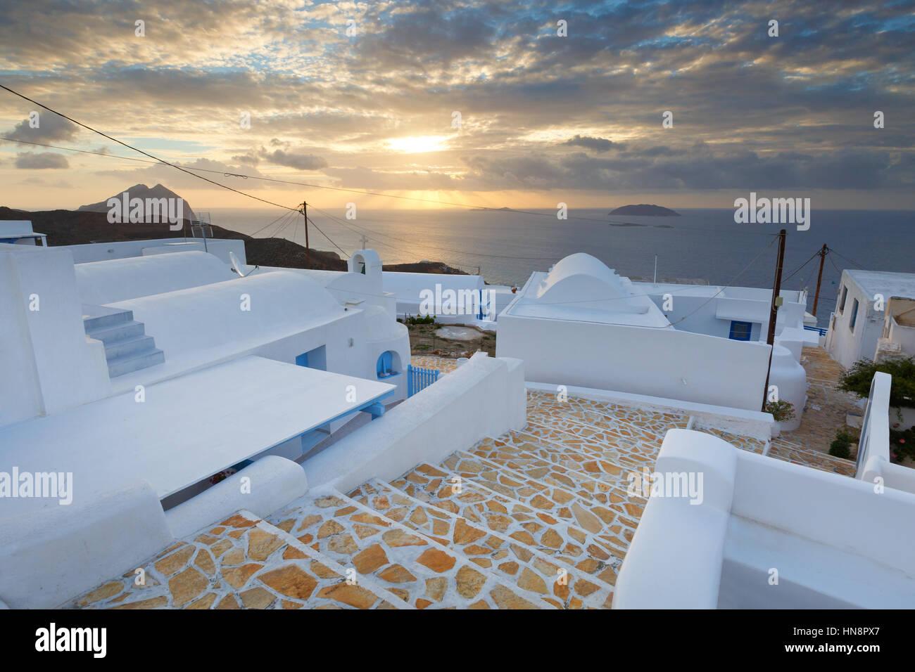 Chora village of Anafi island in Greece. - Stock Image