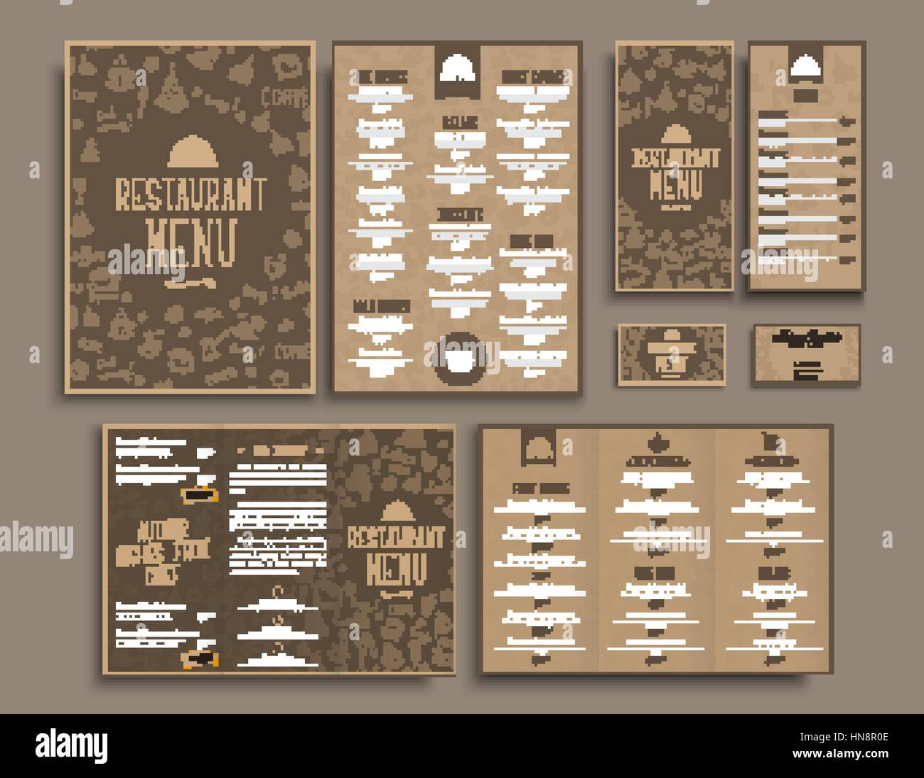 Design a4 menu folding brochures flyers and business cards for design a4 menu folding brochures flyers and business cards for restaurant or cafe the templates in retro style brown with drawings by hand set ve colourmoves