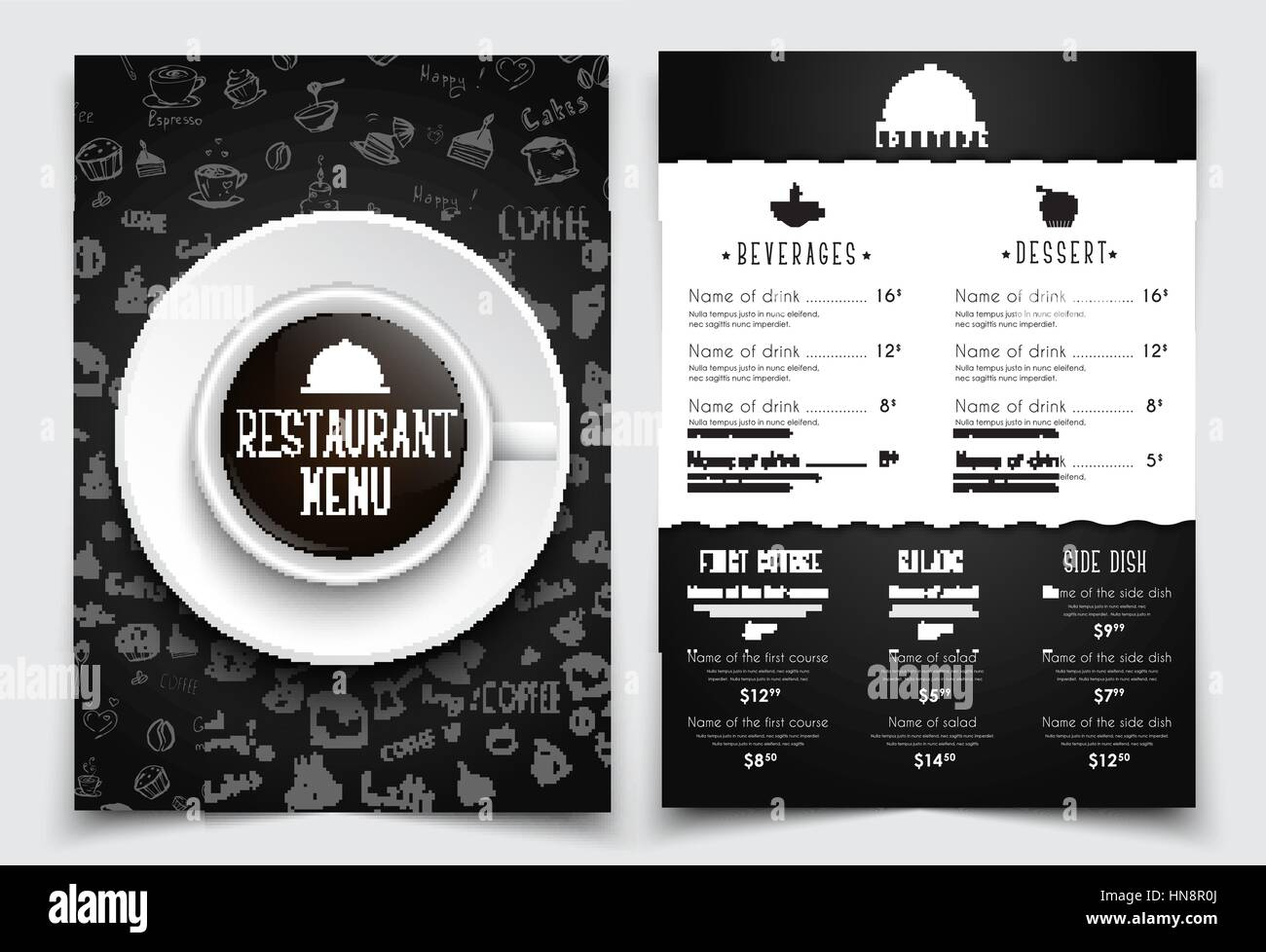 template a4 menu for restaurant or cafe black design with drawings by hand and a cup of coffee the top view set vector illustration
