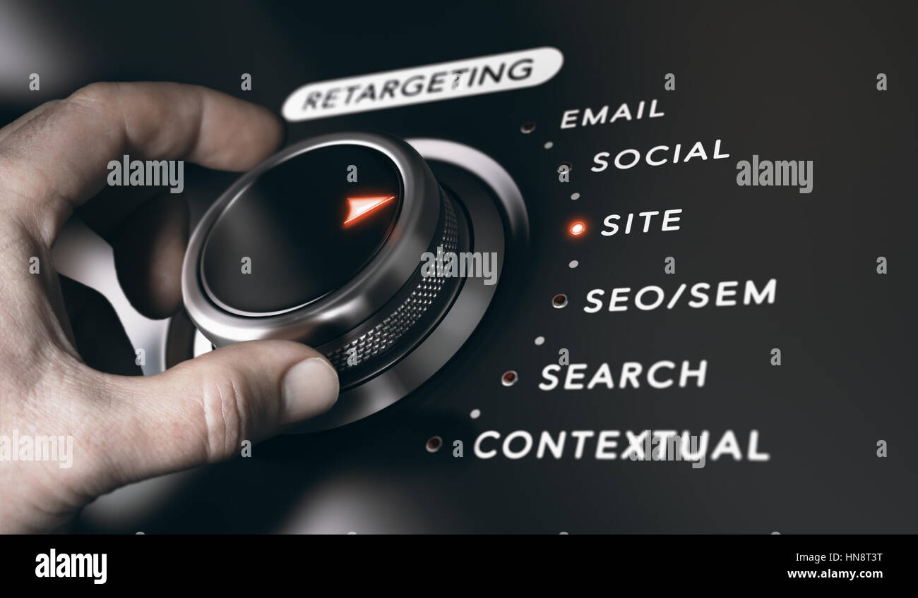 Hand turning a button with the title retargeting and 6 options, black background. Online advertising and behavioral - Stock Image