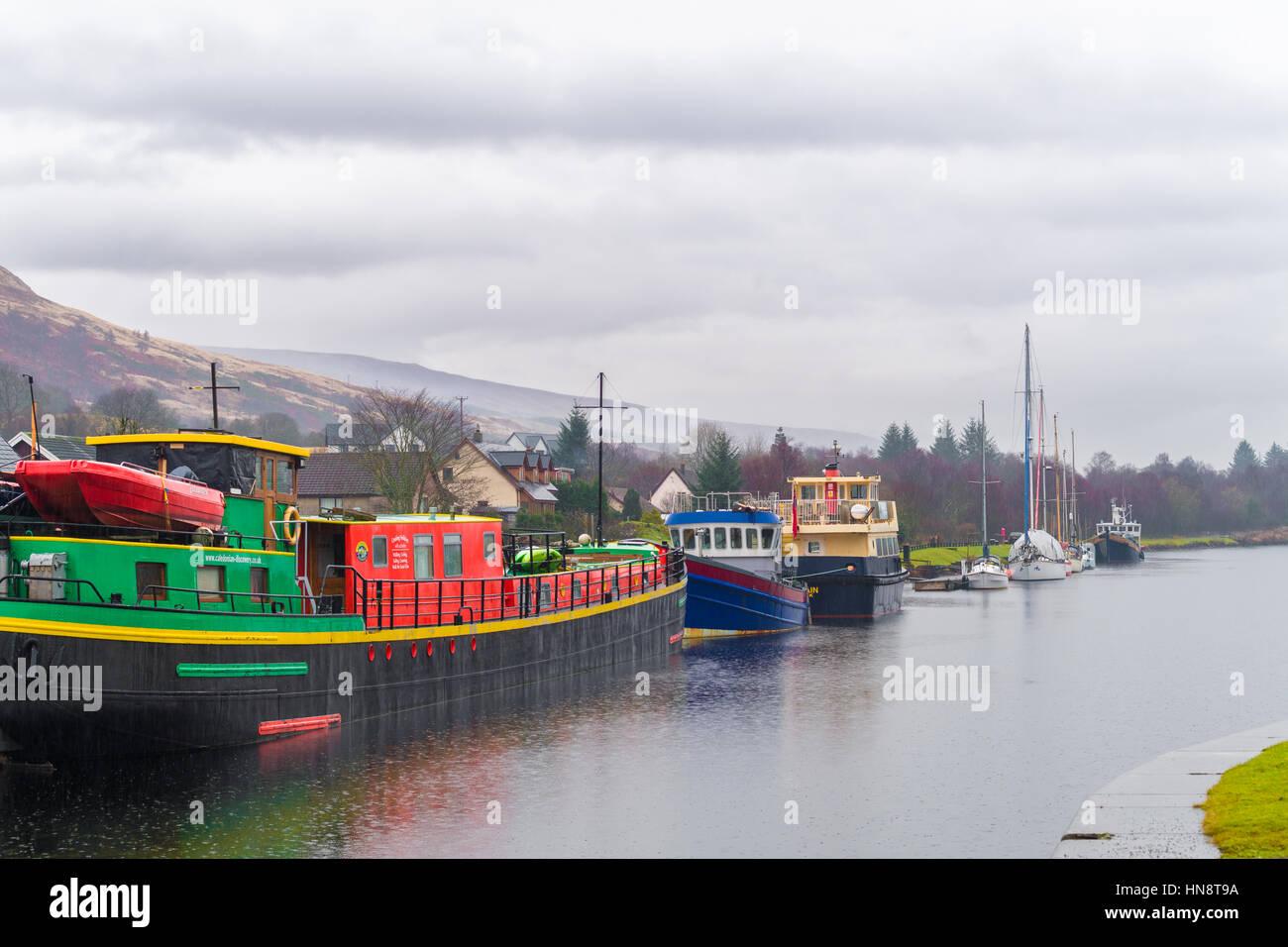 Caledonain canal at banavie on a rainy day. - Stock Image