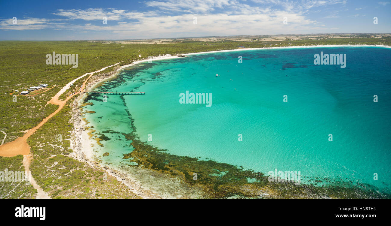 Aerial panorama of Vivonne Bay and pier in Summer. Kangaroo Island, South Australia - Stock Image