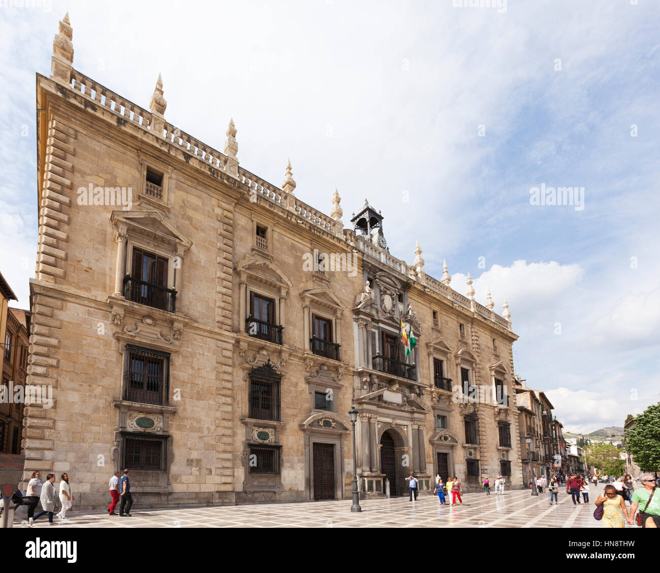 Granada, Spain - April 29, 2016: Palacio de la Chancilleria at Santa Ana square, seat of the royal chancery from - Stock Image