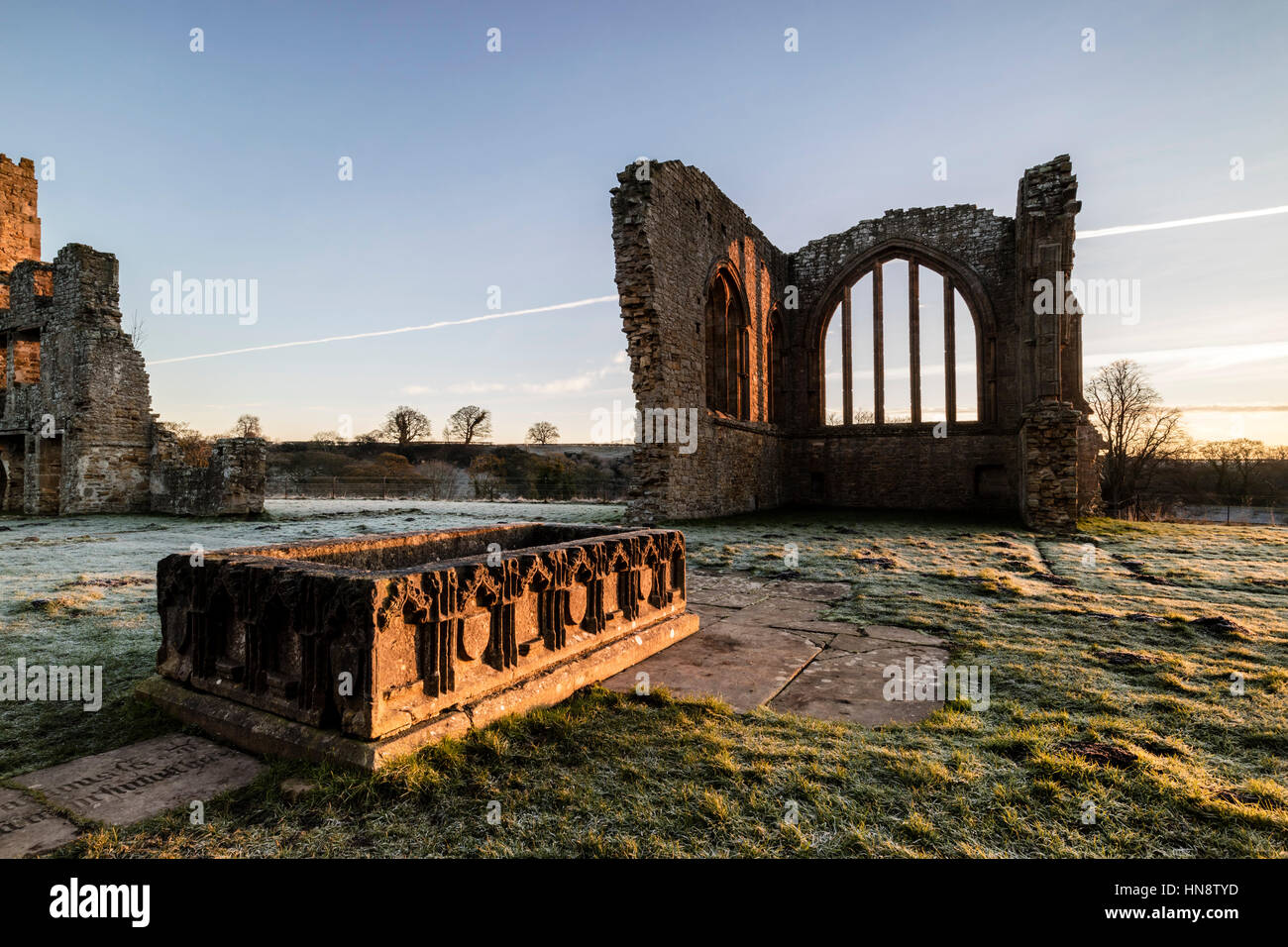 The Remains of Egglestone Abbey and the Table Tomb of Sir Rafe Bowes of Streatlam.  Barnard Castle, Teesdale, County - Stock Image