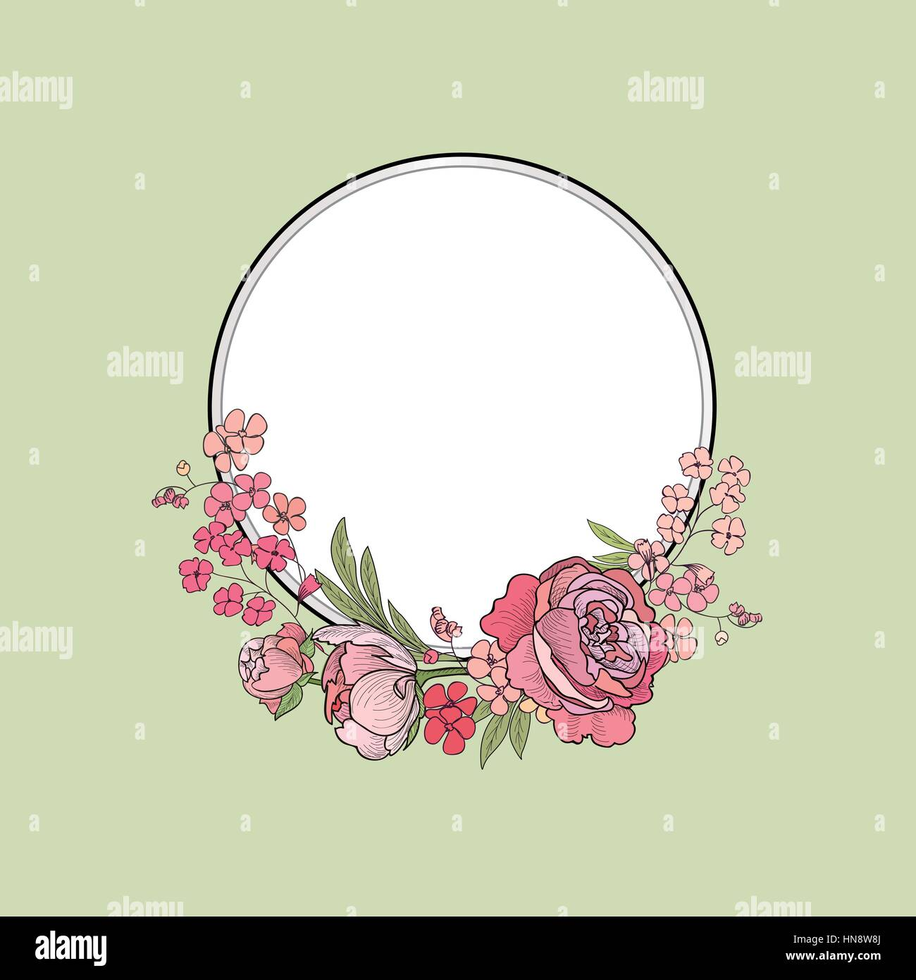 Flower frame. Floral border. Summer flourish background. - Stock Image