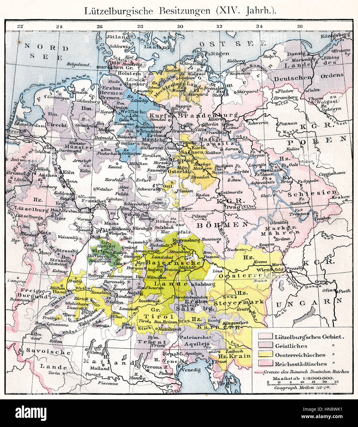 Historical map of the Holy Roman Empire under Charles IV,  territory of the House of Luxembourg, 14th century - Stock Image