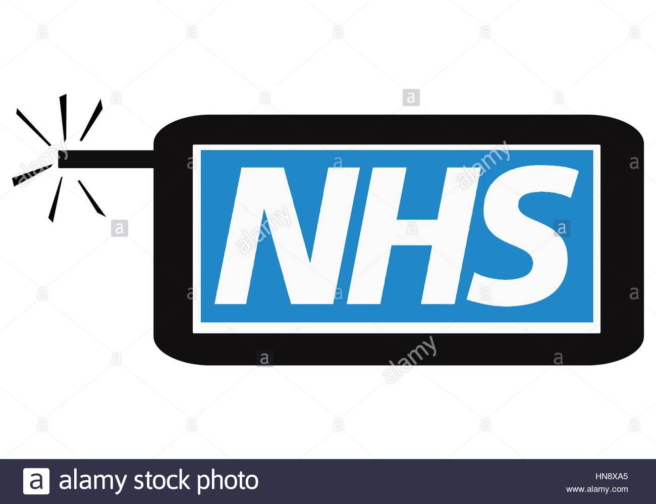 Digital composite - NHS online - Stock Image