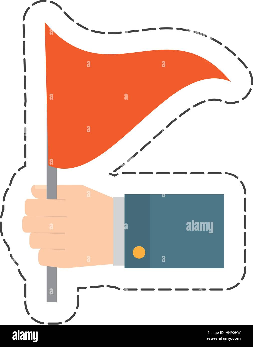red flag in the hand icon, vector illustration image - Stock Image